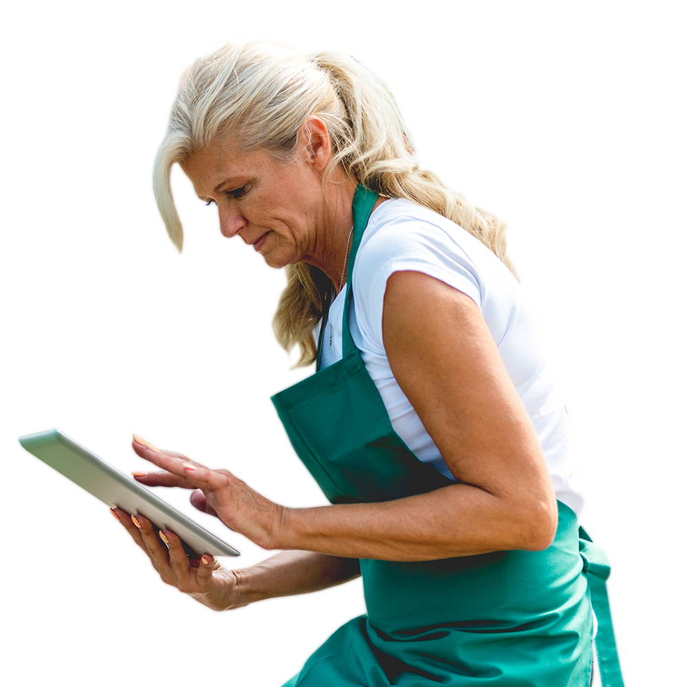 Retail worker using a tablet